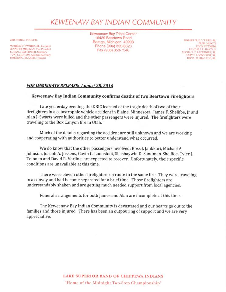 2016-08-28 KBIC Beartown Statement
