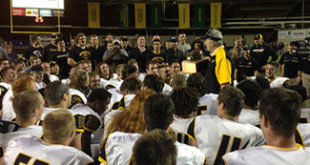 MTU coach Tom Kearly addresses his team after the Miner's Cup game victory - MTU Image
